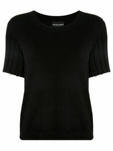 Emporio Armani ribbed sleeves knitted top - Black