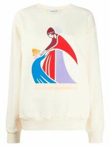 LANVIN Mother and Child-print sweatshirt - NEUTRALS