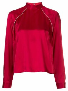 Michelle Mason embellished high-neck blouse - Red