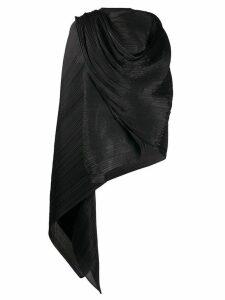 Pleats Please Issey Miyake pleated asymmetric top - Black