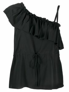 RedValentino asymmetric ruffle top - Black