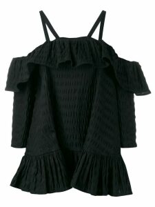 Henrik Vibskov cold-shoulder ruffled blouse - Black