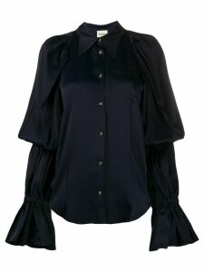 Khaite juliet-sleeve pointed collar shirt - Blue