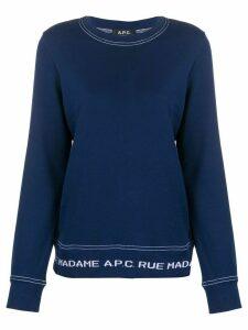 A.P.C. logo hem crewneck sweatshirt - Blue