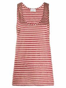 Saint Laurent striped embroidered-logo vest top - NEUTRALS