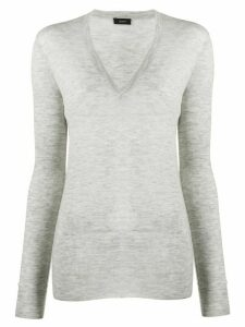Joseph long v-neck jumper - Grey