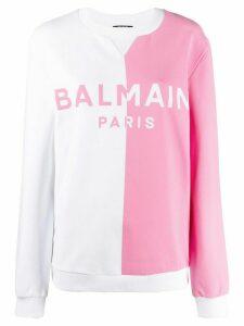 Balmain bicolour logo sweatshirt - White
