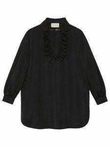 Gucci ruffle front shirt - Black