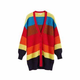 Chinti & Parker Rainbow Riviera Stripe Chunky Knit Cardigan