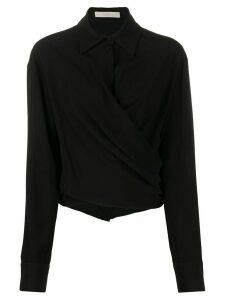 Ssheena wrap long sleeve shirt - Black
