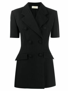 Sara Battaglia double breasted short-sleeved blazer - Black
