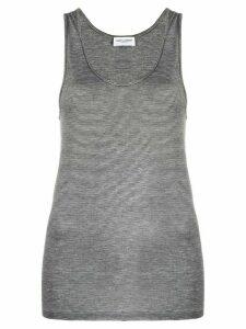 Saint Laurent striped embroider-logo vest top - Black