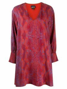 Just Cavalli snakeskin print flared dress - ORANGE