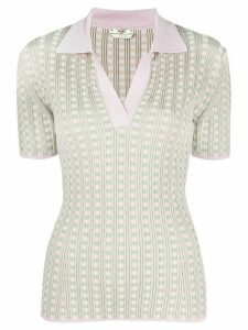 Fendi check knit polo top - PINK