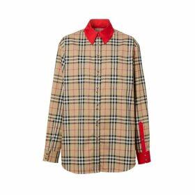 Burberry Contrast Trim Vintage Check Stretch Cotton Shirt