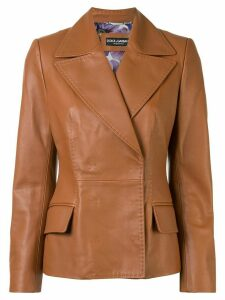 Dolce & Gabbana concealed fastening calf leather jacket - Brown