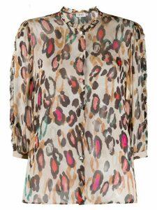 LIU JO sheer leopard print shirt - NEUTRALS