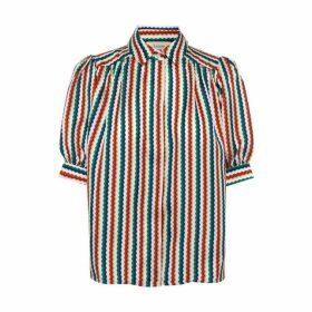 Lisou Betty Rainbow Zig Zag Print Silk Shirt