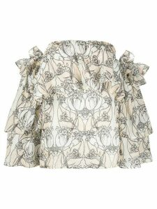 Erika Cavallini floral print off-shoulder top - NEUTRALS