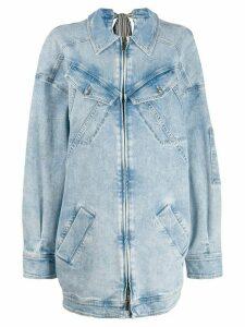 A.F.Vandevorst zip-front printed denim dress - Blue