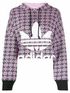 adidas Trefoil allover print hoodie - PURPLE