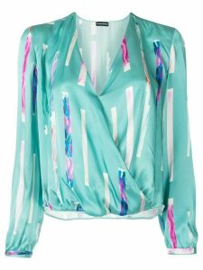 Emporio Armani abstract print wrap blouse - Blue