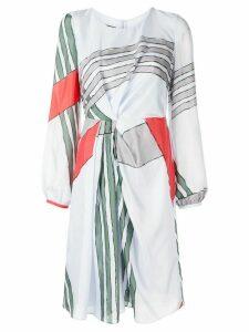 Emporio Armani striped flared dress - Blue