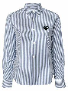 Comme Des Garçons Play striped-print branded shirt - Blue