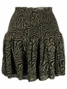 GANNI shirred tiger print skirt - Green