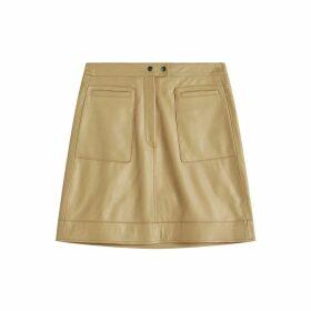 Jigsaw Patch Pocket Leather Skirt