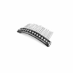 Halo & Co Oxidised Silver Tone Metal Rope Chain Comb With Diamontee Detail