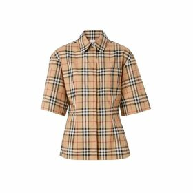 Burberry Short-sleeve Vintage Check Stretch Cotton Shirt