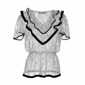 Roses Are Red - Estelle Silk & Lace Blouse In Black & White