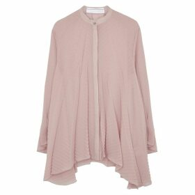 Roland Mouret Staten Pink Pleated Chiffon Blouse