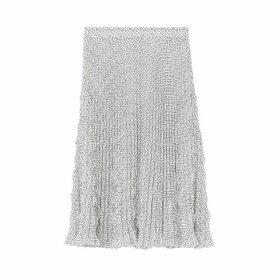 Burberry Monogram Print Crepe De Chine Pleated Skirt