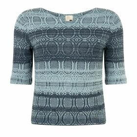 STUDIO MYR - One-Of-A-Kind Three-Quarter Sleeve Knitted Cotton Jumper Denim Wasted Blue