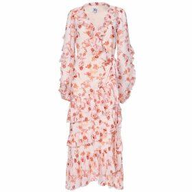 True Decadence True Decadence Peach Orange Floral Wrap Midi Dress