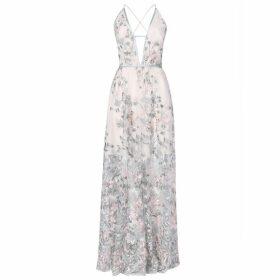 True Decadence True Decadence Light Sage Embroidery Low Back Maxi Dress