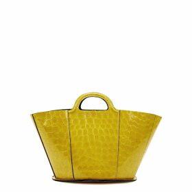 Marni Tropicalia Mini Crocodile-effect Leather Bucket Bag