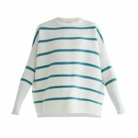 PAISIE - Paisie Striped Ribbed Jumper In White & Teal
