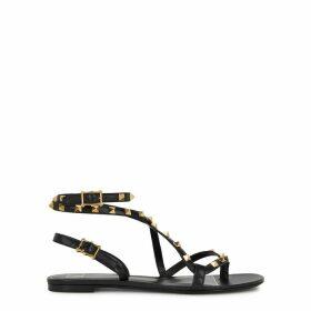 Valentino Valentino Garavani Rockstud Black Leather Sandals