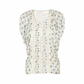 Chloé Ivory Floral-print Silk-chiffon Top