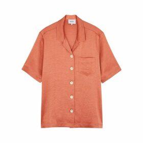 Nanushka Ella Terracotta Satin Shirt