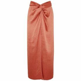 Nanushka Samara Terracotta Satin Maxi Skirt