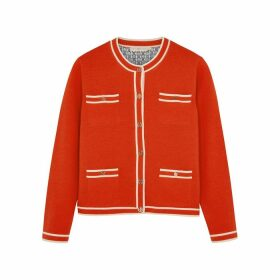 Tory Burch Kendra Red Merino Wool Cardigan