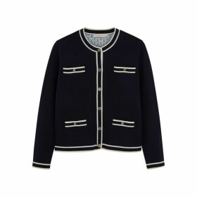 Tory Burch Kendra Navy Merino Wool Cardigan