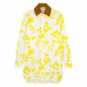 Plan C White Floral-print Cotton Shirt