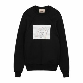 Plan C Black Printed Cotton-blend Sweatshirt