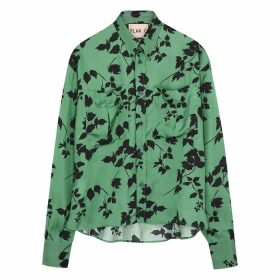 Plan C Green Floral-print Satin-twill Shirt