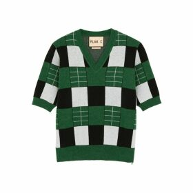 Plan C Green Checked Wool Jumper